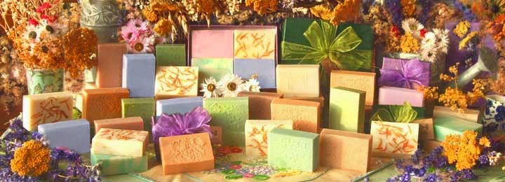 Handmade soap scented with pure essential oils and flowers and herbs from our garden